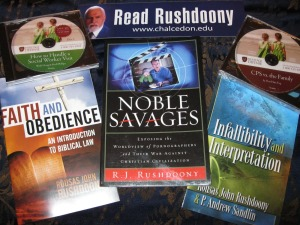 """The New Geneva Christian Leadership Academy table was stocked with books by Christian Reconstructionist author R. J. Rushdoony."""