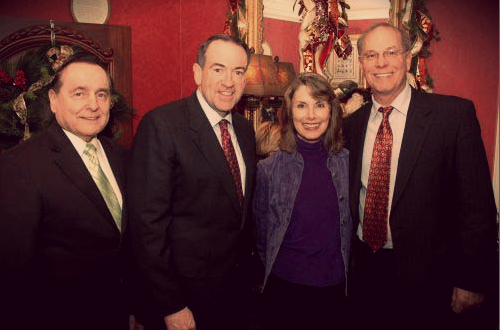 Bill Gothard, Mike Huckabee, and the Leiningers at a 2007 Huckabee for President fundraiser.