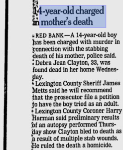 In November 2003, Hugo Clayton — a 14-year-old boy from Guatemala — stabbed his adopted mother from South Carolina to death.