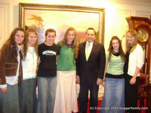 """Members of the Duggar family with Bill Gothard at one of Gothard's IBLP programs, """"Journey to the Heart,"""" where children are taught to """"identify blind spots or secret sins that are keeping them from completely surrendering to God."""""""