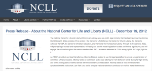 "As recently as 2012, on his own organization NCLL's website, David C. Gibbs III proudly declared his ""twenty years of faithful service with the Christian Law Association."""